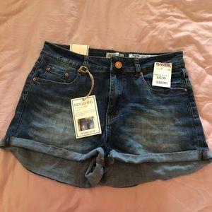 Indigo Rein high-rise denim shorts